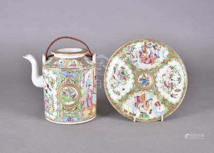 A 19th Century Chinese Canton decorated tea pot, heightened in gilt, and a matching plate, both