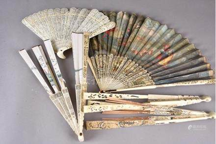 Four sets of 18th Century fan sticks with varying decoration, together with a folding fan painted