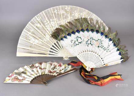 A Late 19th Century Chinese Brisé Fan, the white goose feather sticks tipped with peacock feathers
