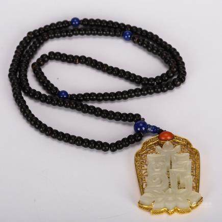 CHINESE WHITE JADE WITH GOLD PENDANT