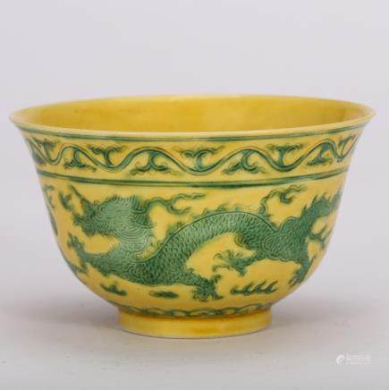 CHINESE YELLOW GROUND GREEN DRAGON BOWL