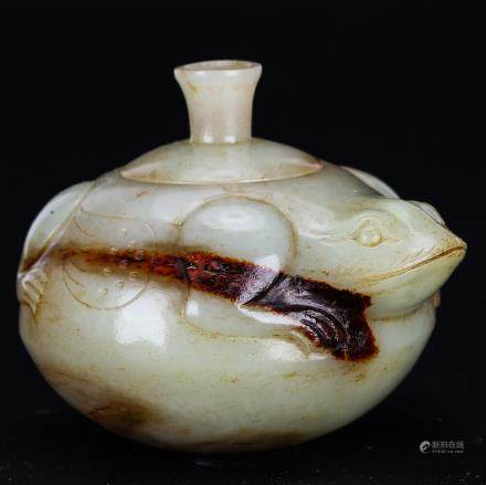 CHINESE ARCHAIC JADE COVER JAR