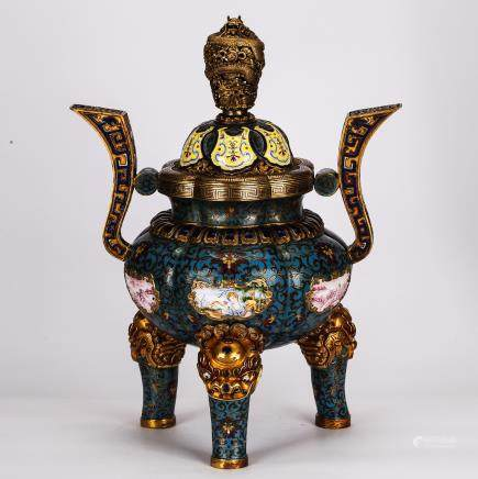 CHINESE CLOISONNE TRIPOD COVER CENSER WITH ENAMEL