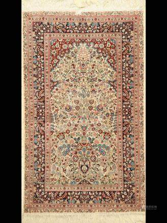 China silk Rug, approx. 40 years, natural silk