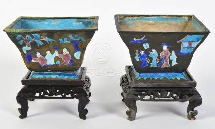 Pr. Chinese Painted Enameled Metal Planters
