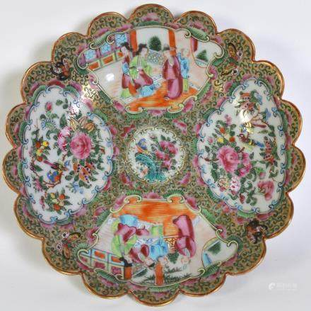 Chinese Export Rose Medallion Shallow Bowl