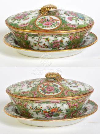 Pr. Chinese Export Covered Dishes w/ Trays