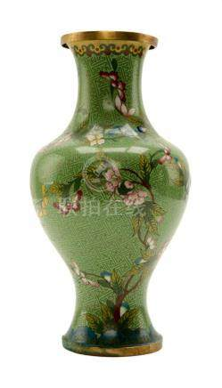 Chinese Cloisonne Green Vase