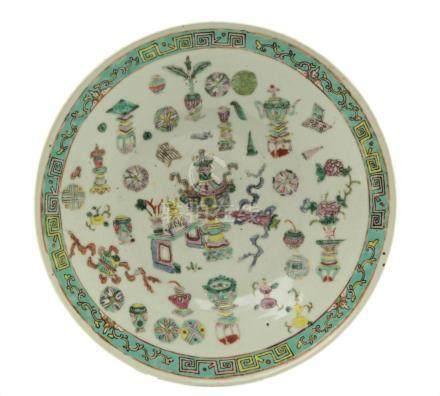 Chinese Famille Rose Enamel Porcelain Round Platter