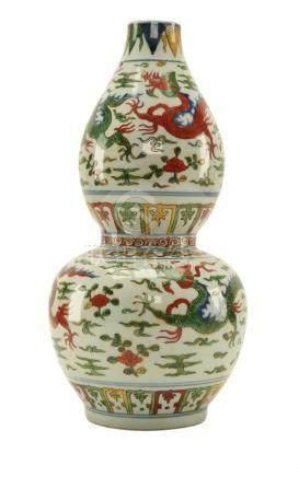Chinese Enamel Porcelain Double Gourd Vase