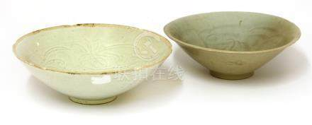 Two Chinese qingbai ware bowls, Song Dynasty (960-1279), both with a lobed rim, one incised with ...