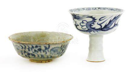 A Chinese blue and white bowl, Yuan dynasty (1279-1368), of shallow form with everted rim, the ...