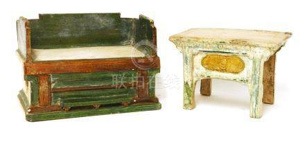 Two Chinese earthenware furniture models, Ming dynasty (1368-1644), one daybed, of rectangular form ...