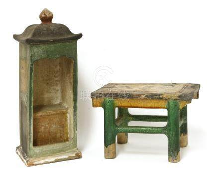 Two Chinese earthenware furniture models, Ming dynasty (1368-1644), both under a green and amber ...