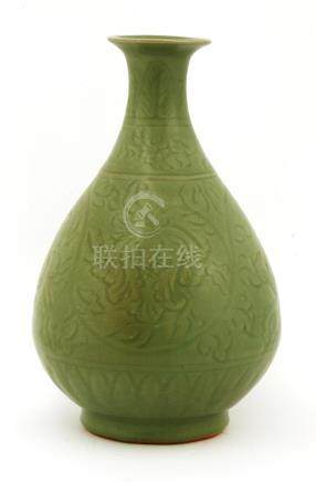 A Chinese Longquan ware yuhuchun vase, Ming dynasty (1368-1644), of pear shape with a splayed ...