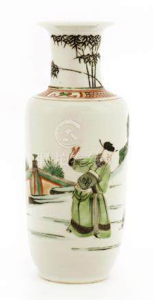 A Chinese wucai vase, Kangxi (1662-1722), painted with a scholar playing Touhu in a garden, the ...