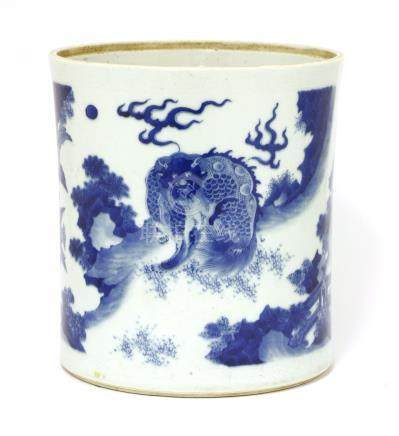 A Chinese blue and white brush pot, Transitional period, of tapering cylindrical form, painted ...