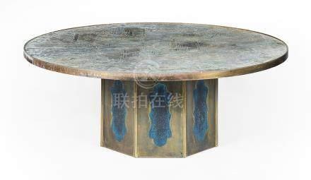 """TABLE BASSE """"CHAN"""" EN BRONZE PATINE ET ETAIN ETATS-UNIS"""