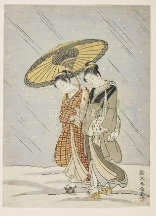 SUZUKI HARUNOBU (1724-1770) Deux femmes sous la neige.