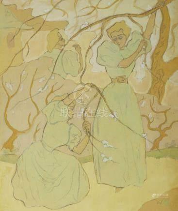 PAUL-ELIE RANSON (1861-1909) Trois femmes sous les arbres en fleur
