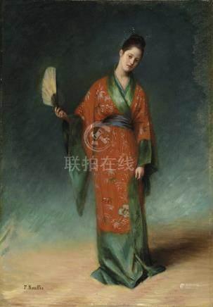 PAUL ROUFFIO (1855-1911) Jeune femme à l'éventail Signé 'P. Rouffio' (en bas à gauche). Huile sur toile