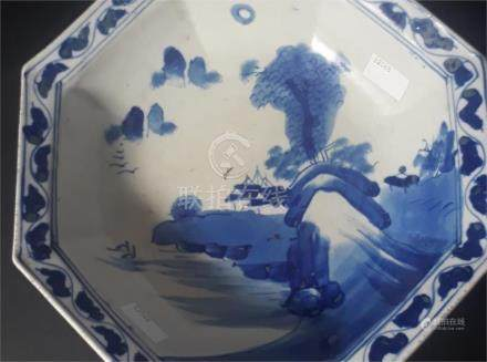 An early 19th century Japanese blue and white octagonal bowl, painted with a landscape, 23.5cm