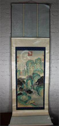 A Qing Dynasty Chinese scroll painting, depicting river mountain scene with trees, signed and seal