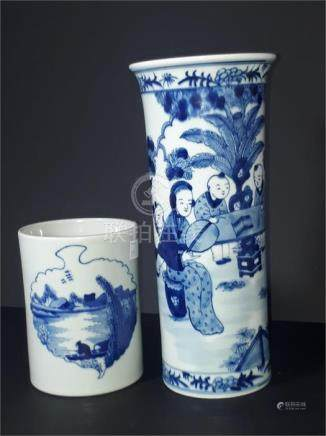 Two Chinese early 20th century porcelain blue and white items, to include a cylindrical spill vase