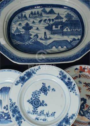 A 19th Century Chinese porcelain shaped rectangular meat plate, painted in under glaze blue with