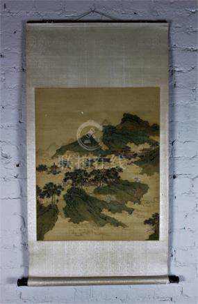 A Chinese Republic period scroll painting of mountain scene, unsigned, image 64.5cm x 52cm.