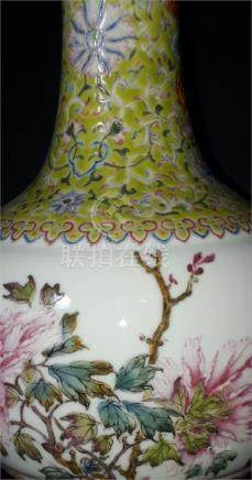 A Chinese Qianlong vase, enamelled with chrysanthemon, repair to top.