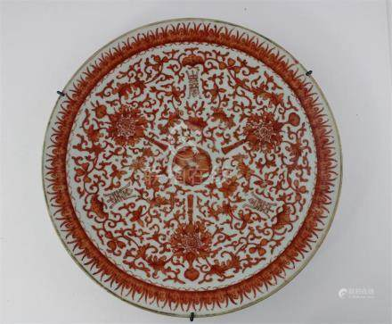 A Chinese Guangxu period charger, decorated in enamel depicting bats and shou, diameter 30cm.