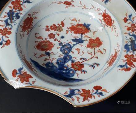 A Chinese export barbers owl in the Imari style,circa 1720, 27cm diameter. Condition; Chips to