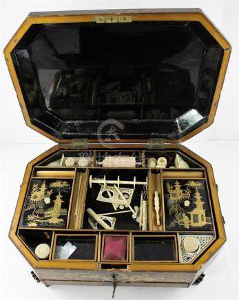 A Chinese export black lacquered and gilt decorated combination sewing and writing box, late 19th