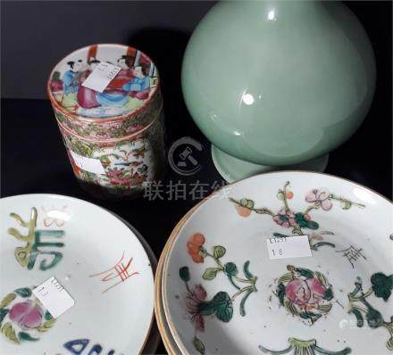 A collection of predominately 19th century Chinese porcelain items, to include six plates with