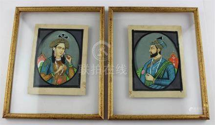 Moghal School, a pair of Indian miniatures portraits, one of a nobleman the other of a lady, both