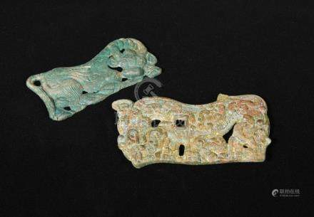Two inner or outer Mongolia bronze plaques, Warring States period and Han dynasty, one depicting a