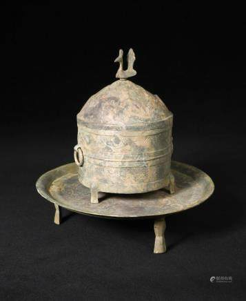 A bronze ritual cylindrical tripod wine container, cover and tray, Wen Jiu Zun and Pan, late eastern