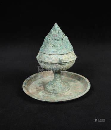 A bronze 'HILL' censer and cover, Boshanlu, Shanlu Han dynasty (206 BC - AD 220) raised on a stem
