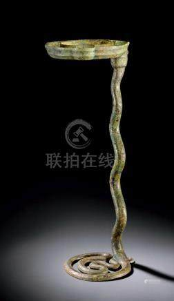 A rare and important Archaic bronze snake lamp, Warring States period / early Western Han dynasty,