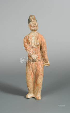 A Tang dynasty terracotta man servant, with traces of polychrome decoration, 31cm high Wear and
