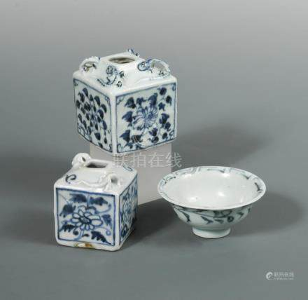 Two late Yuan/early Ming blue and white Chrysanthemum waterpots, and an early Ming cup, the two
