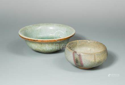 Two bowls, Yuan Dynasty and possibly Ming, the Yuan Jun Bowl with two purple splashes on the