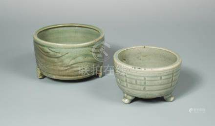 A late Yuan/early Ming Longquan celadon censer, of cylindrical form, with an inverted mouth rim, the