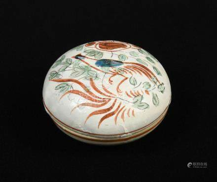 A polychrome decorated Cizhou box and cover, Jin dynasty, the exterior decorated with a pheasant and