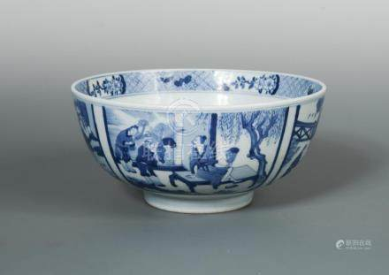 A Kangxi bowl, the interior painted to the centre with a fisherman in a roundel, the exterior with