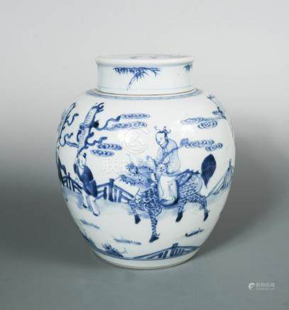 A Kangxi jar with cover, painted with a figure riding a Qilin under escort of three banner