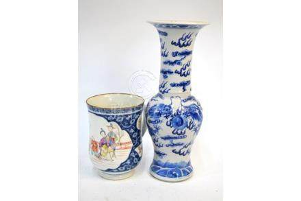 A famille rose mug; together with a blue and white vase, 30 cm high, with a Kangxi four-character