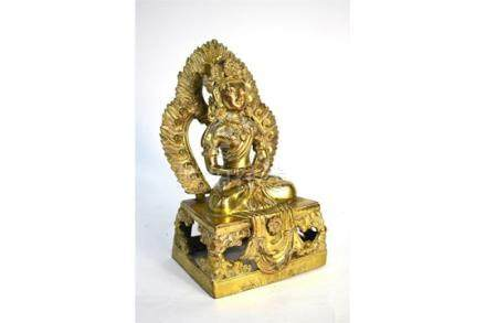 A gilt bronze figure of Amitayus, The Celestial Deity of Mahayana Buddhism, seated in dhyanasana