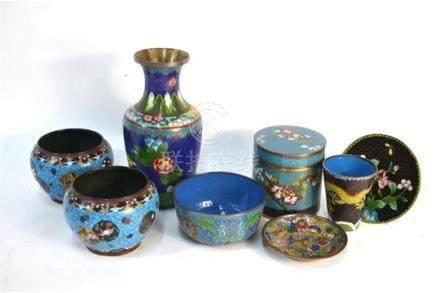 A pair of turquoise-ground, Japanese cloisonne enamel bowls, 8 cm high, Meiji/Taisho Period;
